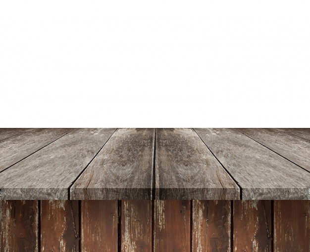 Empty brown wood shelf table isolated on white background.  montage of your product