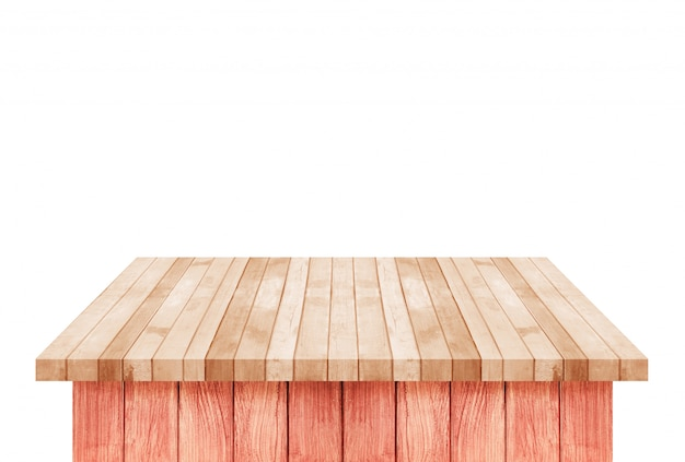 Empty brown wood shelf table isolated on white