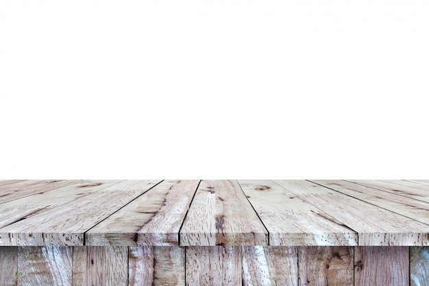 Empty brown wood table top on white background.  montage of your product