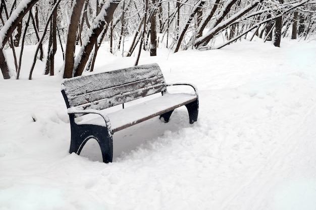 겨울 날 측면보기에 공원에서 야외 빈 갈색 나무 벤치를 닫습니다
