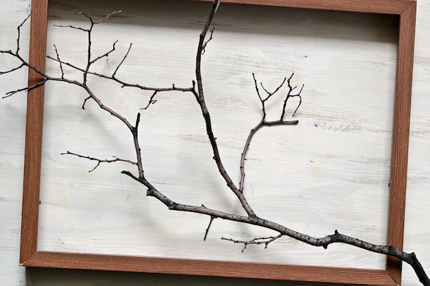Empty brown wooden frame on ligh colored wood
