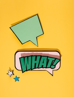 Empty bubble over the what speech bubble on yellow backdrop