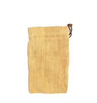Empty burlap sack bag isolated on white background