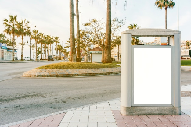 Empty bus stop box for advertisement