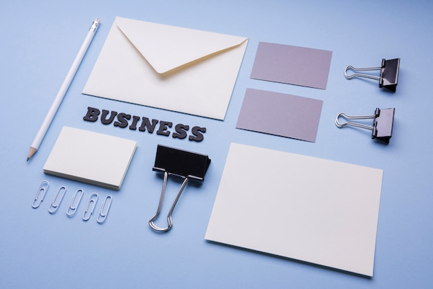 Empty business card and envelope