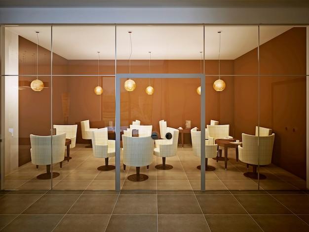 현대적인 디자인의 빈 카페