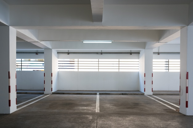 Empty car park in building