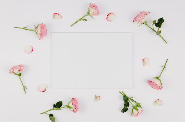 Empty card surrounded by delicate roses