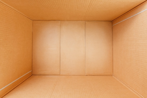 Empty cardboard box, inside view. view from above.