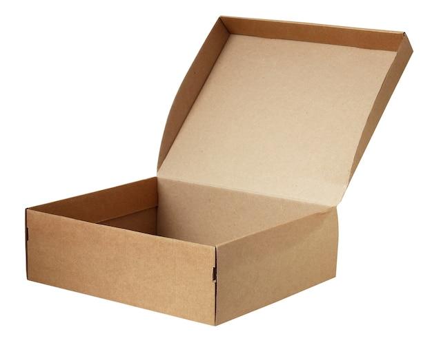 Пустая картонная коробка изолирована. одна коричневая коробка с открытой крышкой, упаковка.
