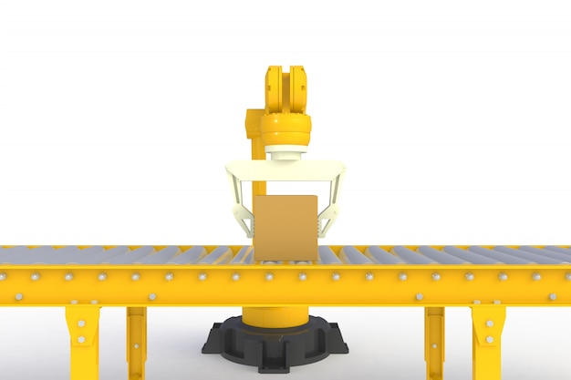 Empty cardboard box on yellow conveyor line isolated on a white background