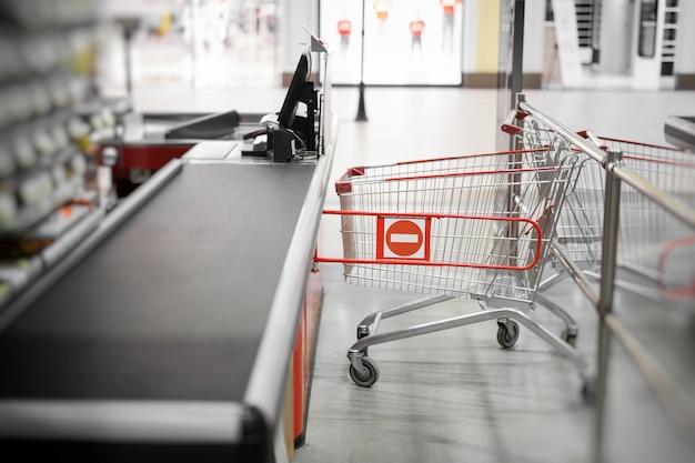 Empty cash desk with closed way border in supermarket