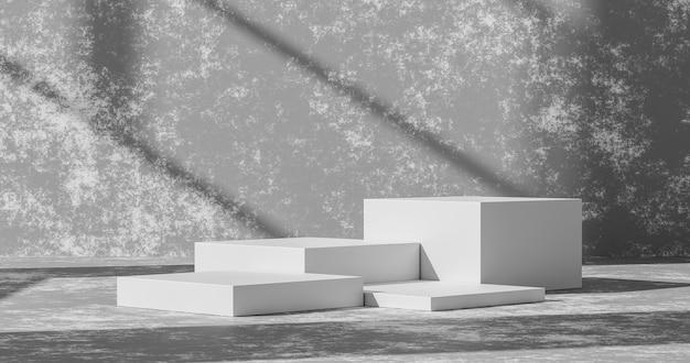 空のセメント壁製品の背景またはホームディスプレイと抽象的な光の壁紙シーンと空白のインテリアスタジオの床に白い表彰台の台座コンクリートグランジ部屋の背景。 3dレンダリング。
