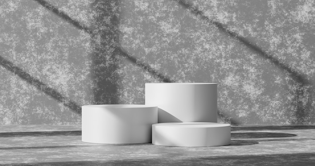 Empty cement wall product background or white podium pedestal concrete grunge room backdrop on blank interior studio floor with home display and abstract light wallpaper scene. 3d rendering.