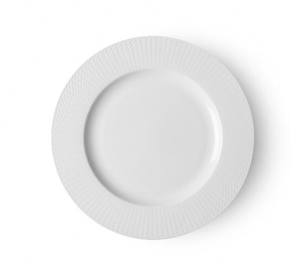 Опорожните керамическую круглую плиту изолированную на белом backgroud. вид сверху
