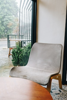 Empty chair in coffee shop and cafe restaurant
