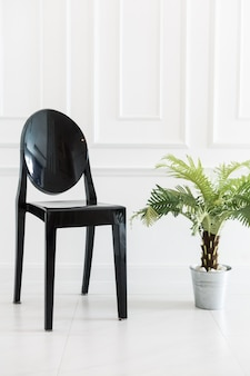 Empty chair with vase plant