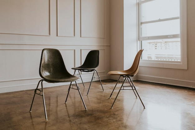 Empty chairs in a studio