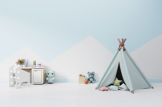 An empty children's playroom with tent and table sitting, doll.