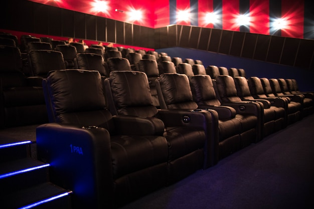Empty cinema, cinema with soft chairs before the premiere of the film