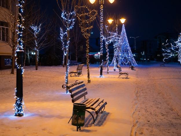 밤에 나무 벤치와 크리스마스 트리가 있는 빈 도시 공원 골목길
