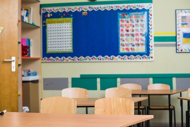 Empty classroom in school