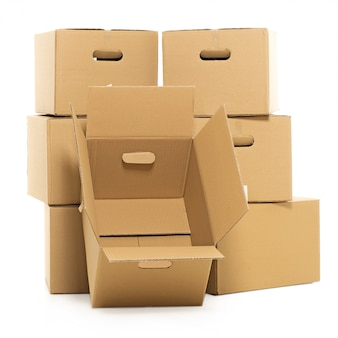 Empty and closed boxes on the white