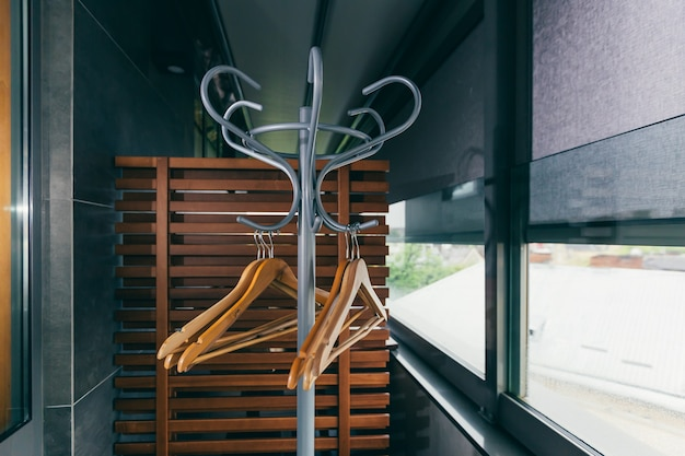 Empty clothes hanger in the hotel restaurant