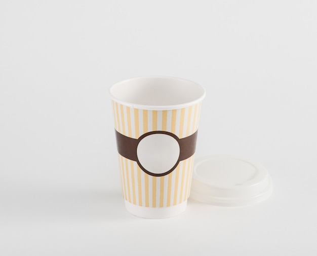 Empty coffee paper cup in takeaway  isolated on white background