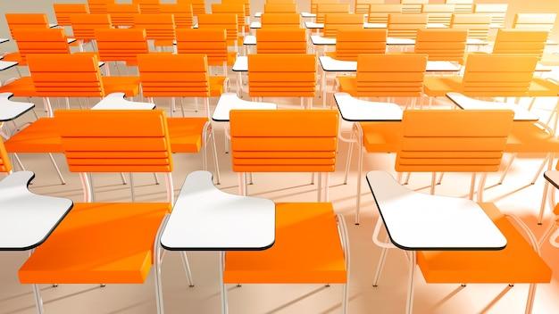 視点で空の大学教室の椅子