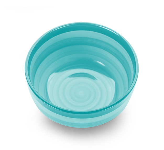 Empty color bowl on white background