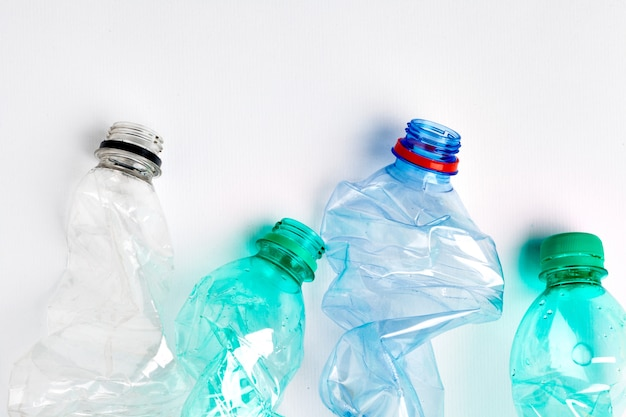 Empty colorful plastic bottles are recyclable waste