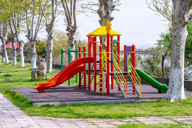 Empty colorful playground in the park. poti, georgia