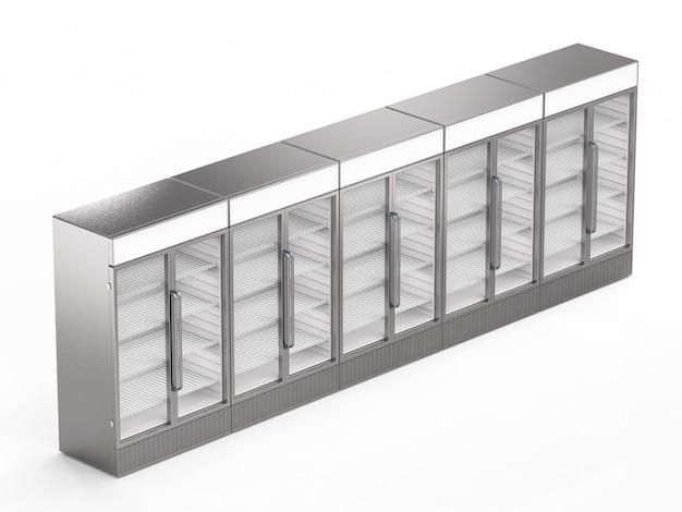 흰색 배경에 빈 상업용 냉장고 아이소메트릭