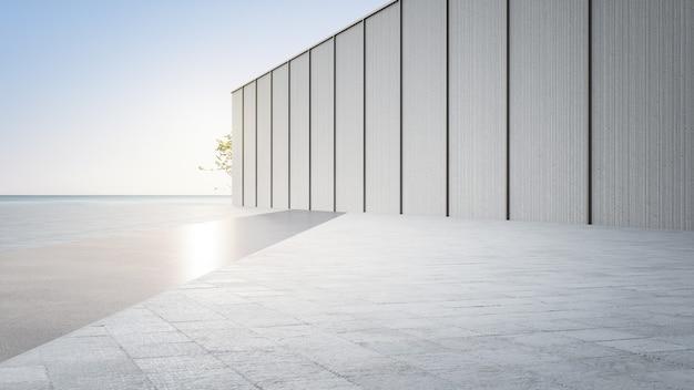 空のコンクリートの床と灰色の壁