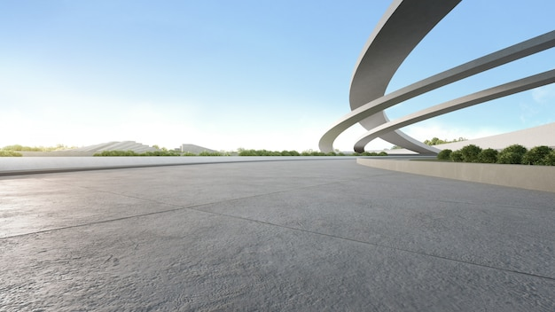 Empty concrete floor in city park. 3d rendering of outdoor space and future architecture with blue sky.