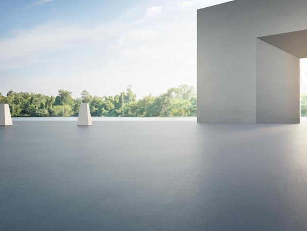 駐車場と灰色の壁のための空のコンクリートの床