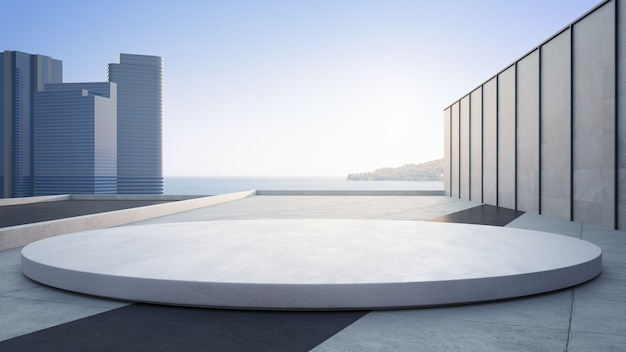 Empty concrete floor and round white podium 3d rendering of sea view plaza with sky background