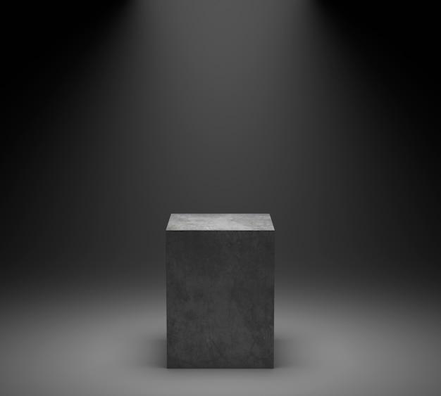 Empty concrete podium on spotlight background