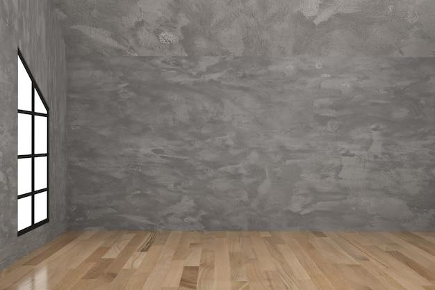 Empty concrete room interior in 3d rendering