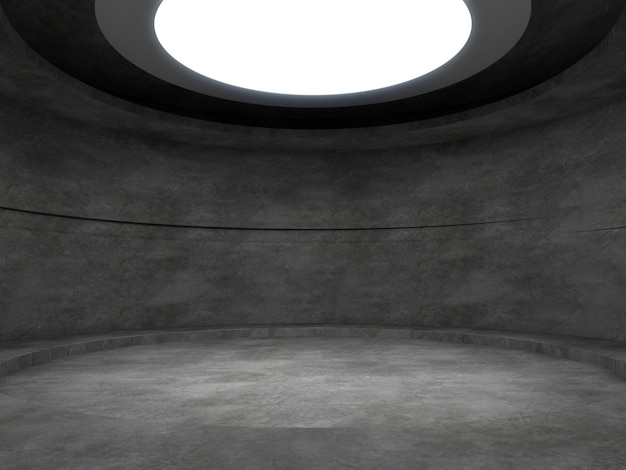 An empty concrete room with lights from above, blank product stand.3d render