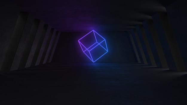 ネオンの明かりで空のコンクリートの部屋