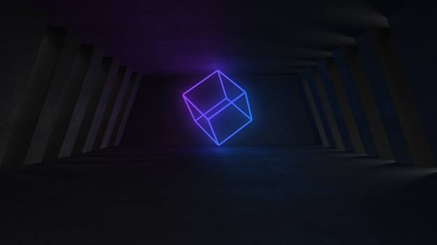 Empty concrete room with neon lights