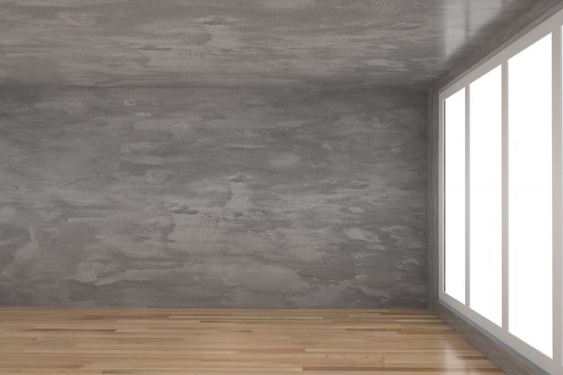 Empty concrete room with parquet wood floor in 3d rendering