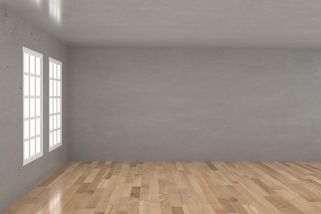 Empty concrete room in wood floor with window in 3d rendering