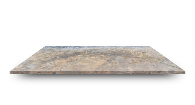 Empty concrete shelves table isolated on white.