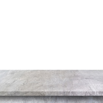Empty concrete table on isolated white and with copy space.