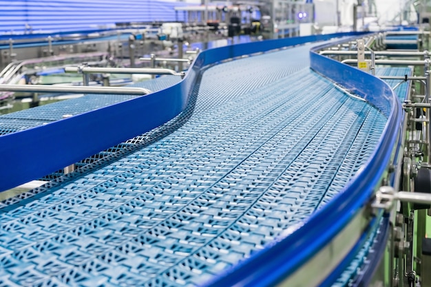 Empty conveyor belt of production line, part of industrial equipment
