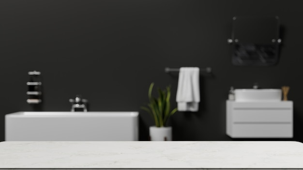 Empty copy space on tabletop for montage over blurred modern bathroom interior with bathtub 3d