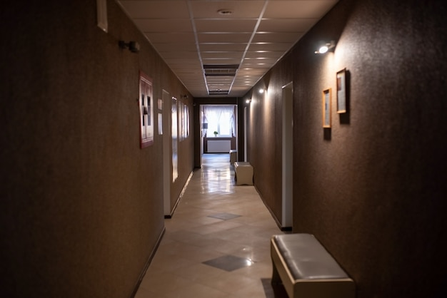 Empty corridors of the clinic, with the lights off. for any purpose.